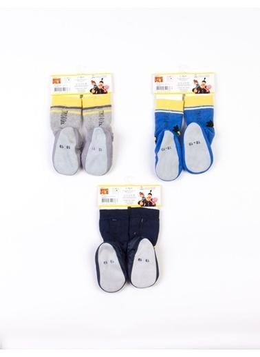 Minions  3 Çift Çarık Çorap 13748 Mavi